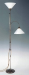 Floor lamp,torchiere lamp with reading lamp,antique brass,shades white